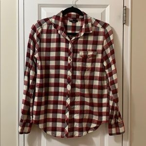 BDG urban outfitters white red plaid flannel shirt